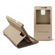 Capa Folio em Pele Ksix Window para Samsung Galaxy Note 4 - Dourado