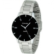 Crude Smart Analog Black Dial Watch-rg397 With Stainless Steel Strap