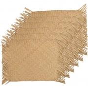 Decoris 6x Beige/naturel gevlochten placemats 30 x 45 cm rechthoek