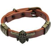Men Style Unique New Hot Design Charm Punk Gothic RockBelt Buckle Brown And Gold Leather And Alloy Bracelet For Men