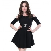 BuyNewTrend Black Solid Fit & Flare Dress For Women