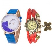 7Star Glory Blue FreeMoving Diamond Leather Red Trendy Analog Watch For Women Pack Of 2