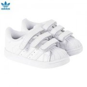 adidas Originals All White Superstar Foundation Velcro Trainers Barnskor 33 (UK 1)