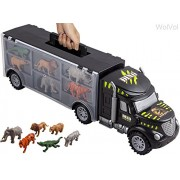 WolVol Hand Carry-On Wild Animals Transport Car Carrier Truck Toy with Animal Toys Inside, Great Toy Truck and Car Carrier (perfect fit for matchbox and hot wheels cars)