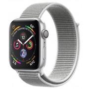 Smartwatch Apple Watch 4, 44mm, LTPO OLED Retina Display, GPS, Bluetooth, Wi-Fi, Bratara Sport Loop Argintie, Carcasa aluminiu, Rezistent la apa si praf (Silver) + Cartela SIM Orange PrePay, 6 euro credit, 6 GB internet 4G, 2,000 minute nationale si inter