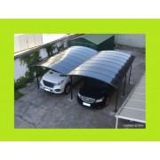 Carport aluminium double 5x6m toit teinté foncé