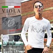 VIOLArumoreラインストーンT メンズTシャツ【リュリュ】 ベルーナ