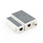 Tester cablu de retea RJ-45 si RG-58, cu LED-uri si tabel de identificare, cabluri suportate: STP/UTP si coaxial, Alb-gri, GEMBIRD (NCT-1)