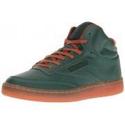 Reebok Men s Club C Mid Cord Fashion Sneaker Flannel Green/Ginger/Paper White/Rbk Brass-gum 13 D(M) US