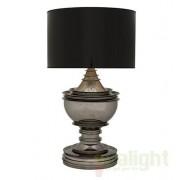 Veioza, lampa de masa LUX, finisaj black nickel, abajur negru, H-120cm, Silom 106024 HZ