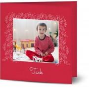 Optimalprint Tackkort för jul Konstnärliga blad, glansigt papper, standard-kuvert, 1 st, fotokort (1 foto), ram, löv, vit ram, kvadratiskt, vikt, Optimalprint