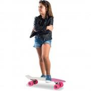 Skateboard 22 inch, Placa Alba, Roti Roz, ABEC 7