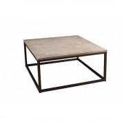 Table basse industrielle carrée 90 x 90 cm LEA en bois de paulownia et en métal