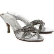 Clarks Women Silver Synth Heels