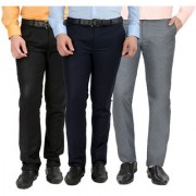 Gwalior Pack Of 3 Formal Trousers - Black Blue Light Grey