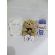 Super Snackin Luke Baby Alive Doll CUSTOM Set - NO DOLL - 5oz EMPTY Bottle with Fake Milk + Juice Recipe + Bear (Styles May Vary) + Micro Preemie Diaper + White Bear Heart Pacifier - 6yrs+