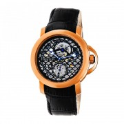 Heritor Automatic McKinley Leather-Band Skeleton Watch - Rose Gold/Black HERHR4006
