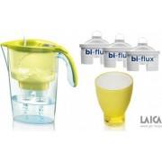 Pachet Laica Cana de filtrare a apei Stream 2.3 L Galben + 3 Filtre Bi-flux + Pahar de colectie