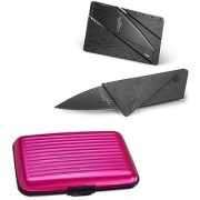 Tuelip Combo of Black Exciting Lives Credit Card Knife And Aluminium Covered Pink Credit Card Holder Wallet