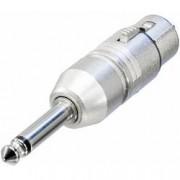 Neutrik XLR zásuvka / jack zástrčka 6,35 mm Mono Neutrik NA2FP, adaptér rovný, stříbrná