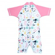 "Costum roz bebeluși cu protecție solară UPF 50 + ""Best Swimmer"""