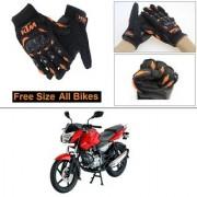 AutoStark Gloves KTM Bike Riding Gloves Orange and Black Riding Gloves Free Size For Bajaj Pulsar 135 LS DTS-i