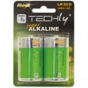 Techly Blister 2 Batterie High Power Alcaline Torcia D LR20 1,5V