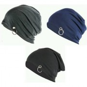 Pack of 3 Men Beanie Baggy Slouchy cap black and grey color