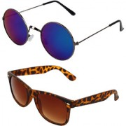 Zyaden Combo of Round And Wayfarer Sunglasses (Combo-152)