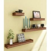 Beautiful Wooden Brown Rectangular Wooden Wall Shelves by Desi Karigar