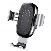 Baseus vezeték nélküli töltő Gravity Autós tartó Phone Bracket Air Vent Holder + Qi töltő ezüst (WXYL - 0S) tok telefon tok hátlap