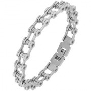 The Jewelbox Bike Motor Cycle Chain Silver Plated 316L Surgical Stainless Steel Bracelet For Boys Men