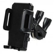 Sostenedor de multiples funciones plastica de bicicletas para el telefono celular + Tablet PC - Negro
