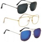 Phenomenal Retro Square Sunglasses(Black, Clear, Green)