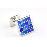 Mousie Bean Enamelled Cufflinks Multi Square 105 Tonal Blue