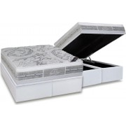 Conjunto Box Baú - Colchão Castor Molas Pocket Super luxo Látex Plush Double Face+ Cama Box Baú Courino Bianco - Conjunto Box King Size - 193 x 203