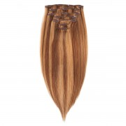 Rapunzel® Hair extensions Clip-on Set Original 7 pieces M5.0/7.4 Golden Brown Mix 50 cm