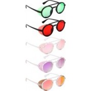 NuVew Round, Shield Sunglasses(Green, Red, Pink, Violet, Golden)