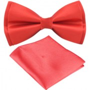 Voici France- Pre knot double layer Red bow Tie with Pocket Square