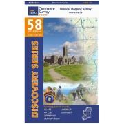 Topografische kaart - Wandelkaart 58 Discovery Clare, Limerick, Tipperary | Ordnance Survey Ireland