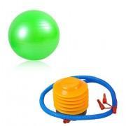Set Pompa + Minge pentru Fitness, Recuperare sau Gimnastica, Diametru 55cm, Culoare Verde