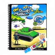 Magic Water Drawing Book,Military-Themed Reusable Coloring Acticity Board,Original Color Doodle Painting Picture Book With Refillable Water Pen,Great Gift For Children Kids