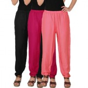 Culture the Dignity Women's Rayon Solid Casual Pants Office Trousers With Side Pockets Combo of 3 - Black - Magenta - Baby Pink - C_RPT_BM1P2 - Pack of 3 - Free Size