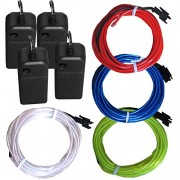 4 Pack - TDLTEK Neon Glowing Strobing Electroluminescent Wire/El Wire(Blue, Green, Red, White) + 3 Modes Battery Controllers