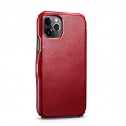 ICARER Vintage Style Genuine Leather Folio Flip Phone Casing for iPhone 11 Pro 5.8-inch - Red