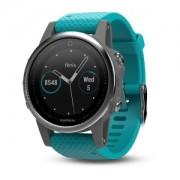Watch, Garmin fenix® 5S, За фитнес, здраве и мултиспорт, Сребрист с тюркоазена каишка (010-01685-01)