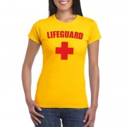 Shoppartners Lifeguard/ strandwacht verkleed shirt geel dames