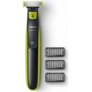 Aparat hibrid de barbierit si tuns barba Philips OneBlade QP2520/20 Bonus Pelerina Barbierit Ventuze Neagra