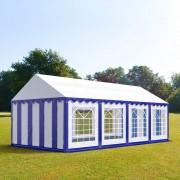 Intent24.fr Tente de réception 4x8m PVC 500 g/m² bleu imperméable barnum, chapiteau