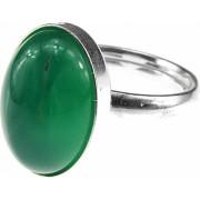 Inel argint reglabil cu agata verde 14x10 MM GlamBazaar Reglabila cu Agate Verde tip inel reglabil de argint 925 cu pietre naturale
